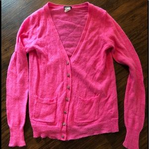 J.Crew bright pink cardigan with rhinestone button